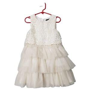 Cynthia Rowley Ivory Daisy Tulle Tiered Dress 3T